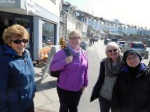 Margaret, Rachel, Sue and Marty--the walking party after lunch in Porthleven.