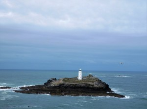 Godrevy Lighthouse, visible from sea and shore.
