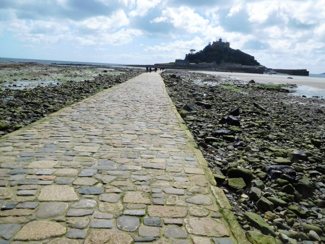The Causeway at low tide lets us walk to St Michael's Mount.