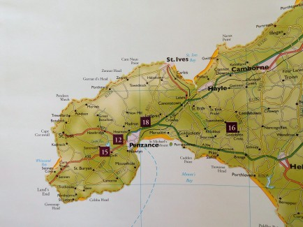 The map shows our walking realm in the extreme south west part of Cornwall.