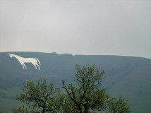 The chalk horse near Westbury. I asked the conductor when and where we would see this ancient chalk etching in the hills and he alerted us over the intercom. Google it.