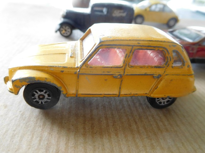 This model of a French Citroen Dyane, by Gorgi Juniors, Made in Britain, tickles my fancy. It has a hitch and the boot opens and closes. Not so the bonnet or doors.