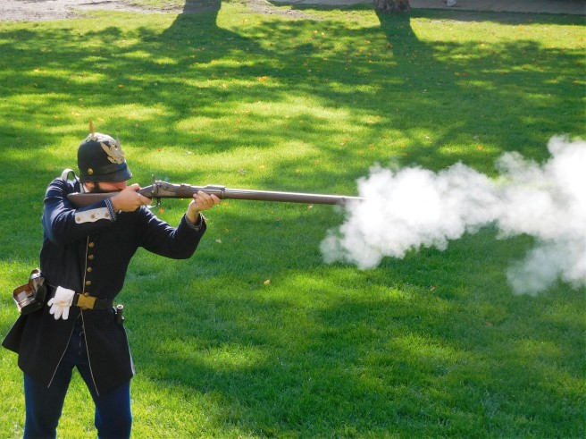 Rifle firing demonstration at Fort Mackinac.