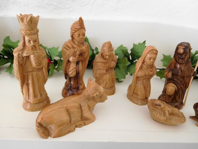 Part of the crèche on our mantel.