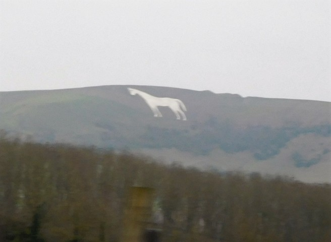 From the train I took a picture of The Chalk Horse at Westbury, one of many such ancient mysteries throughout England.