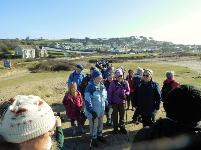 On school break, four children joined 35 regular walkers for a five-mile walk on Tuesday.
