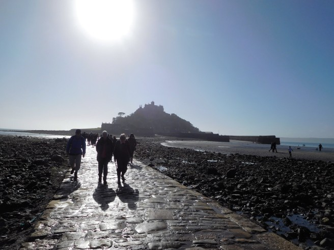 Walking the causeway at low tide across to St Michael's Mount at Marizion.