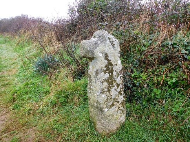 This ancient granite cross marked the field path to the parish church in Madron where our walk started.