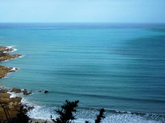 Green, blue sea aka Carbis Bay leading to the Irish Sea.